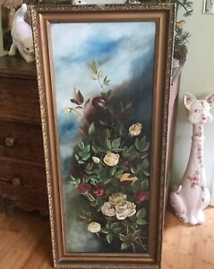 Antique Victorian framed roses oil on canvas reds yellow cream pink blue sky