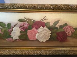 Antique vintage Victorian framed yard long of roses oil on canvas in pinks~white