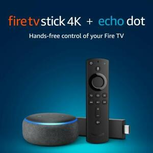 New Sealed In Box Amazon Fire Tv Stick 4k Bundle With Echo Dot Alexa Smart 3rd