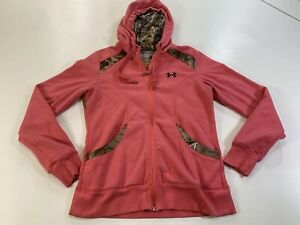 Under Armour Semi Fitted Pink & Camo Hoodie Zip up Women's Size LG