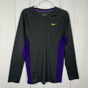 Nike Dri-Fit Mens BlackPurple Size Medium Long Sleeve Athletic Workout Shirt