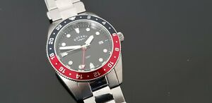 Rotary GMT Stainless Steel Divers Style Gents Bracelet Watch with Luminous Dial.