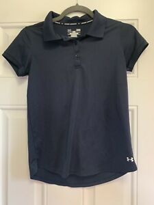 EUC Under Armour Large Loose UA Golf Polo Shirt Girls Navy