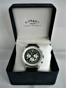 STUNNING BOXED MEN'S WORKING ROTARY CHRONOSPEED CHRONOGRAPH QUARTZ WATCH