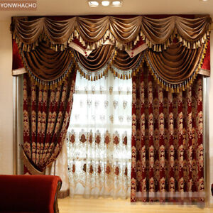 Luxury noble European red thick chenille cloth blackout curtain valance B625
