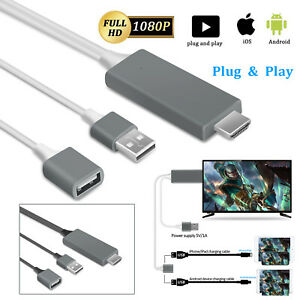 1080P HDMI Mirroring Cable Phone to TV HDTV Adapter For iPhone 11 iPad Android