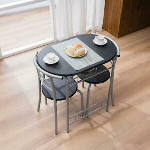 High Quality 3PCS Bistro Metal Dining Set Table and 2 Chairs Home Kitchen Room
