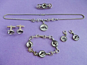 Horse Head Equestrian Lucite Silver Tone Necklace Pin Charms Bracelet Cufflinks
