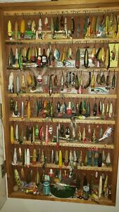 Vintage Lot of fishing lures from my Dads large collection with homemade case...