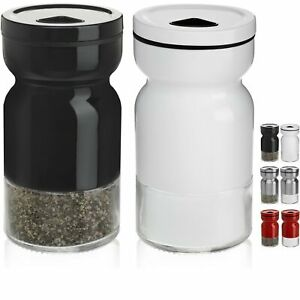 CHEFVANTAGE Salt and Pepper Shakers Set with Adjustable Pour Holes - Black an...