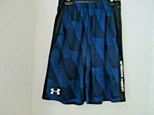 UNDER ARMOUR~Blue & Black Athletic LOOSE FIT SHORTS~Boys Youth Large
