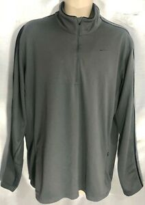 NIKE FIT DRY GRAY LONG SLEEVE 12 ZIP FRONT SHIRT XL VERY GOOD CONDITION X30