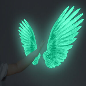 Luminous Wings Wall Stickers Glow in The Dark Decals Nursery Wall Decor for Kids