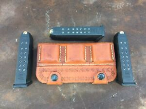 Glock 9mm OWB Leather 3 Triple Mag Magazine Belt Holster Double Stack USA MADE!