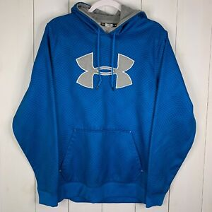 Under Armour Mens Blue Size Medium Long Sleeve Front Pocket Hooded Sweatshirt