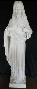 Antique Italian Carved Marble Sacred Heart of Jesus Religious Church Statue 55
