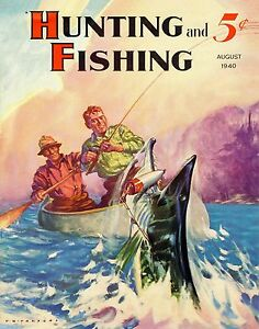 Muskie Fishing Vintage Magazine Poster Art Print Musky Lures Cabin Wall Decor