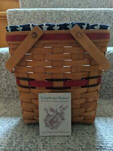 1991 All American Basket Longaberger With Cloth Stars amp;Stripes Liner Protector $39.00