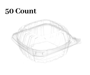 50 Pack 6 x 6 Clear Plastic Clam Shell Take Out Food Container
