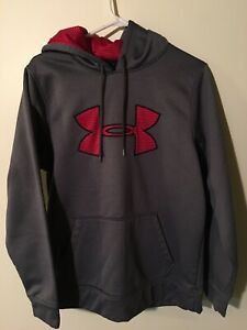 Under Armour Hooded Sweatshirt Gray with Red Logo Mens Small