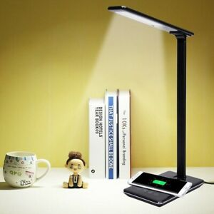 USB Charging LED Desk Table Lamp + QI Wireless Phone Charger Reading Study Light