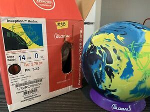 900 Global Bowling Ball Inception 14 Pound Carbon Teal Yellow New In Box 1St