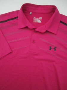 Mens Large Under Armour Playoff Polo Heatgear pink golf athletic shirt
