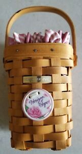 1998 Longaberger Classic TALL Horizon Of Hope Basket Dusty Rose Stripe DAD SIGN