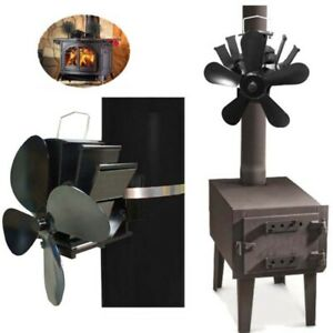 Heat Powered 4/5 Blade Stove Fan Low Noise Fire Place Fuel Saving Wall Thermal