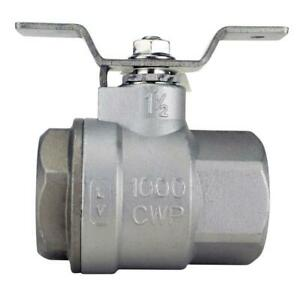 1-12 In. Stainless Steel Fnpt X Fnpt Full-Port Ball Valve With Tee Handle