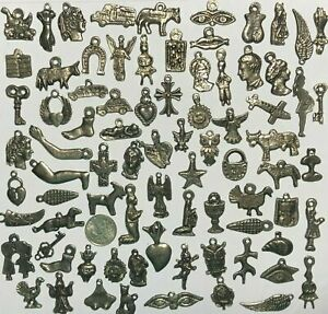 25 MILAGROS Dark Antique Old Silver Black Mexican Charms Wholesale lot $5.80