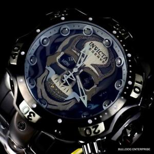 Invicta Reserve Venom Gen III Skull Black Steel Swiss Chrono Mvt 52mm Watch New
