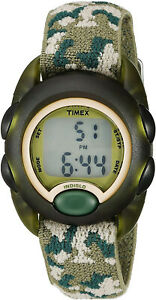 Timex Time Machines Digital Green Camouflage Elastic Fabric Strap
