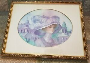 Vintage Framed Elizabeth Watercolor Jan Seliski 1985 Victorian Painting $85.00