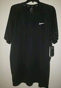 New Nike Swim Dry-fit Shirt Top Bathing Suit UV Stretchy Size 2XL Solid Blk $34