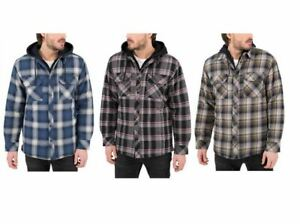 Boston Traders Men's Quilted Lining Flannel Shirt Jacket with Hood