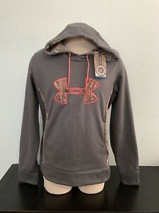 New NWT Under Armour Womens Hoodie Sweatshirt XL Semi-Fitted Gray Pink Camo