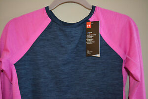UNDER ARMOUR UA WOMENS COLD GEAR FITTED SHIRT SIZE MEDIUM BLUE PINK RUNNING NWT