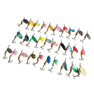 USA Lot 30pcs Colorful Trout Spoon METAL Fishing Lures Spinner Baits Bass Tackle