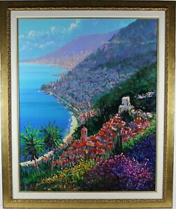 quot;Monaco From Roquebrunquot; by Kerry Hallam Gorgeous Original of French Coastline $10500.00