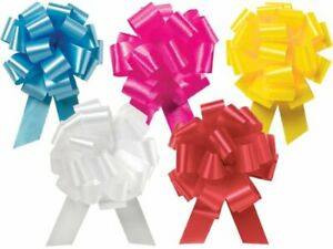 Pull String Bows - 5.5 Inch Wide 20 Loops (1 and 7/8 Inch Ribbon) 10 Pack
