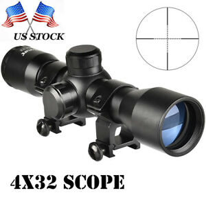 CVLIFE 4x32 Rifle Scope Crosshair Optics Hunting Gun Scope with 20mm Free Mounts