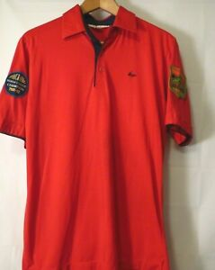VINTAGE AMF THE ANGLE MENS BUTTON SHORT SLEEVE POLO SHIRT RED MEDIUM 19quot;PIT 28quot;L $10.99