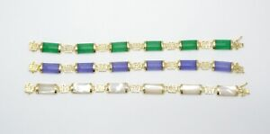Natural Jade 925 Yellow Gold Plated Sterling Silver Fortune Clasp Link Bracelet