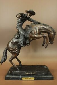 SIGNED REMINGTON FAMOUS WOOLY CHAPS BRONZE SCULPTURE COWBOY HORSE OLD WESTERN