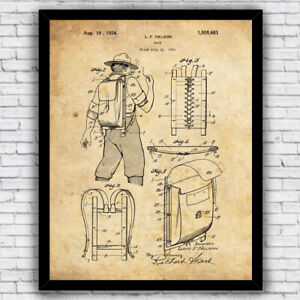 Outdoor Hiking Backpack Patent Wall Art Print Decor - Size and Frame Options