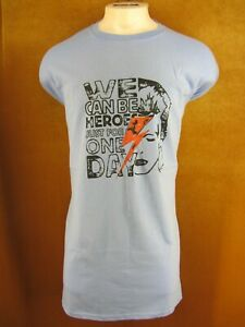 Size 5XL David Bowie We Can Be Heroes For One Day Blue Sleeveless Mens T shirt $12.00
