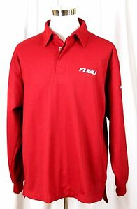FUBU 1992 COLLECTION SPORT RED LONG SLEEVE BUTTONS FRONT POLO LINED SHIRT Sz L
