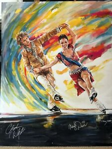 Olympic Gold MERYL DAVIS CHARLIE WHITE Autographed Original Painting
