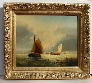Antique Oil painting on canvas original seascape SailboatsSigned  Framed